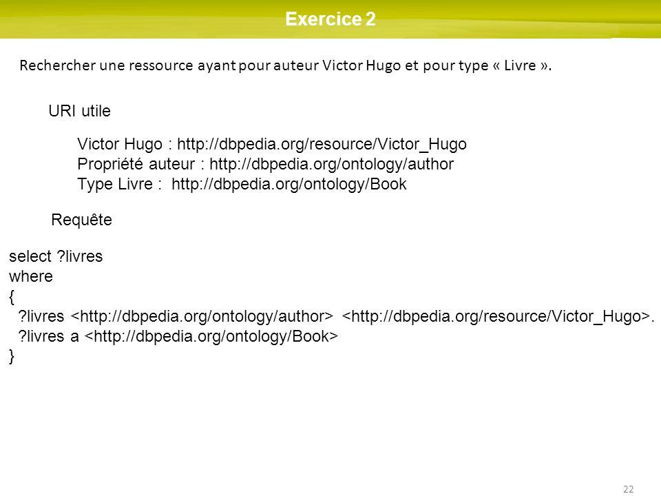 Exercice 2 Rechercher une ressource ayant pour auteur Victor Hugo et pour type « Livre ». URI utile.