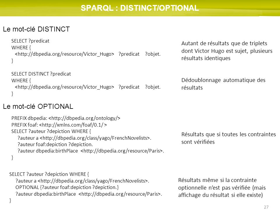 SPARQL : DISTINCT/OPTIONAL