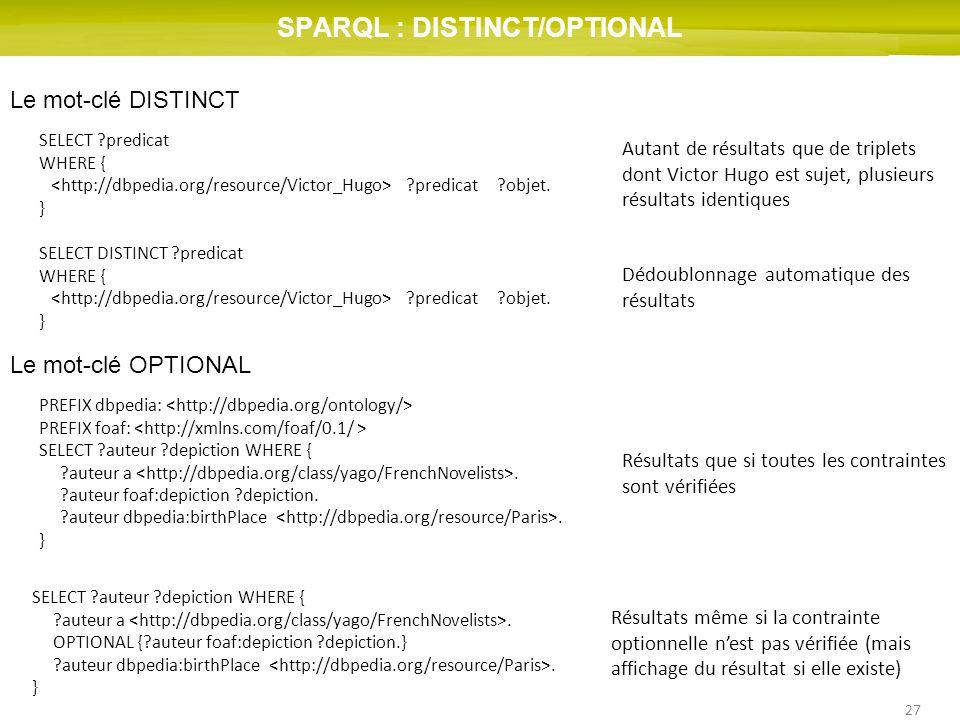 SPARQL : DISTINCT/OPTIONAL