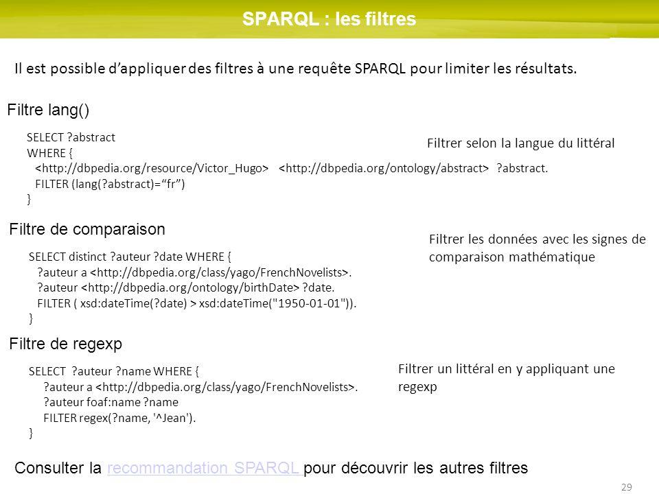 SPARQL : les filtres Il est possible d'appliquer des filtres à une requête SPARQL pour limiter les résultats.