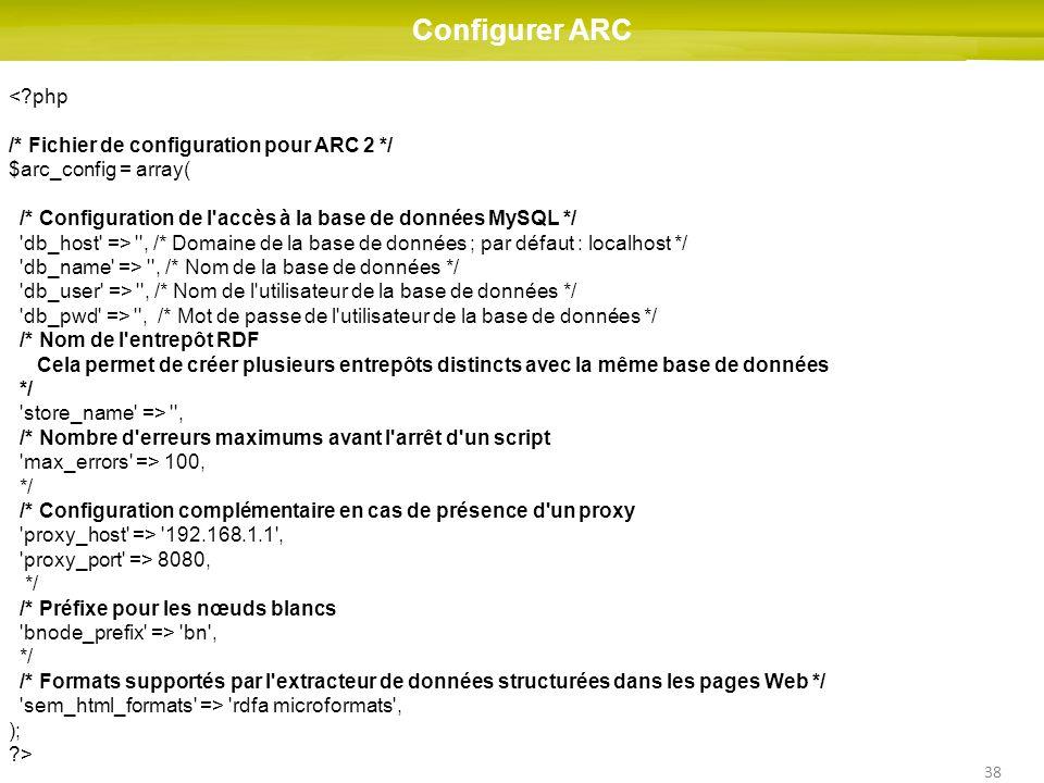 Configurer ARC < php /* Fichier de configuration pour ARC 2 */