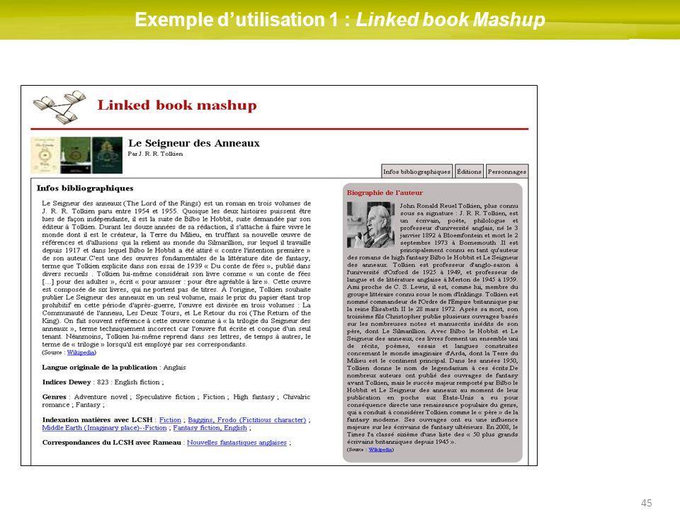 Exemple d'utilisation 1 : Linked book Mashup