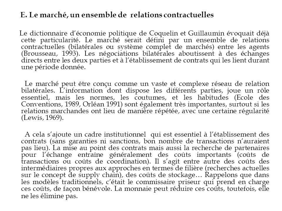 E. Le marché, un ensemble de relations contractuelles
