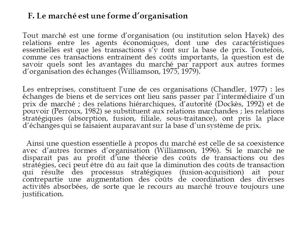 F. Le marché est une forme d'organisation