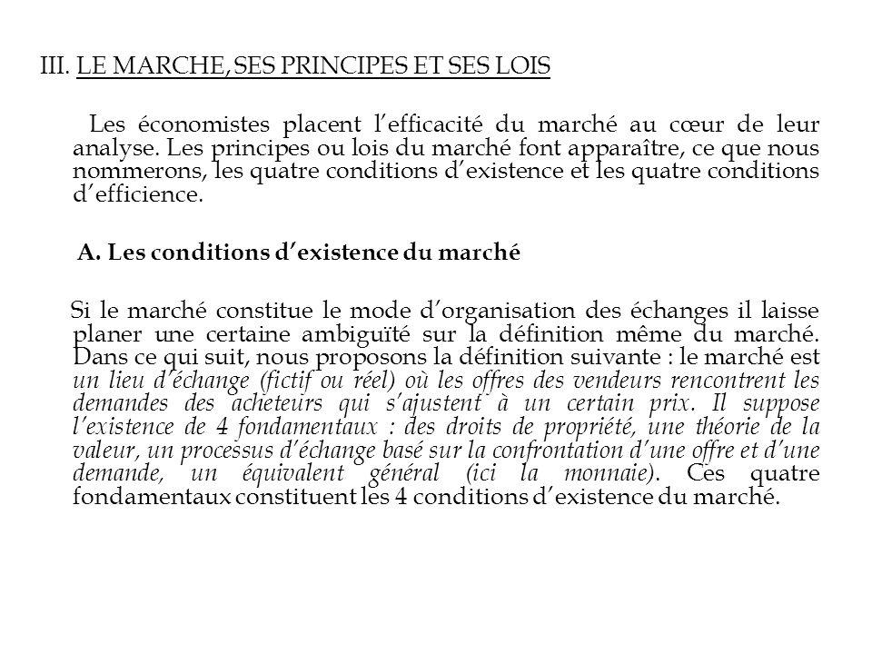 III. LE MARCHE, SES PRINCIPES ET SES LOIS
