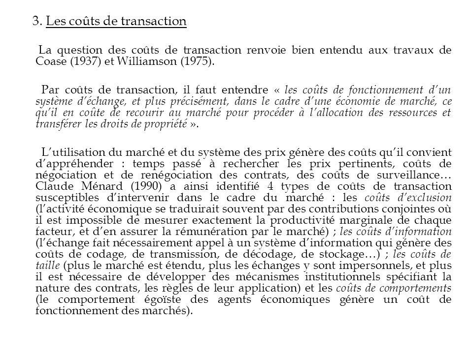 3. Les coûts de transaction