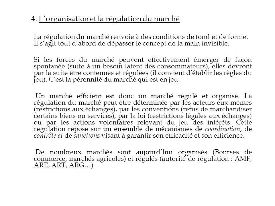 4. L'organisation et la régulation du marché