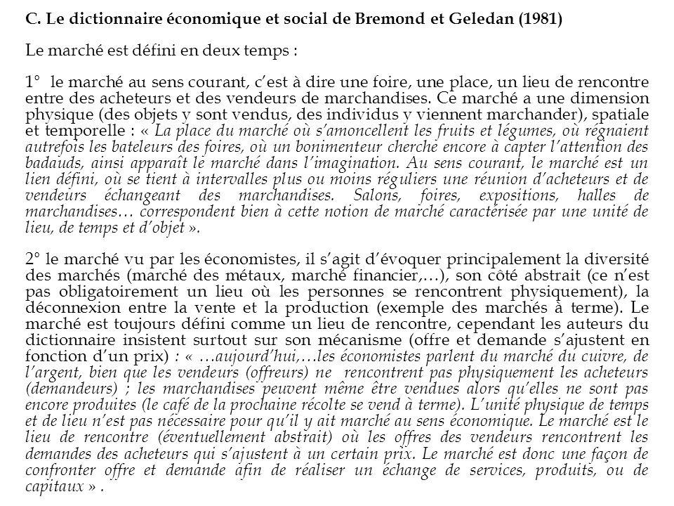 C. Le dictionnaire économique et social de Bremond et Geledan (1981)