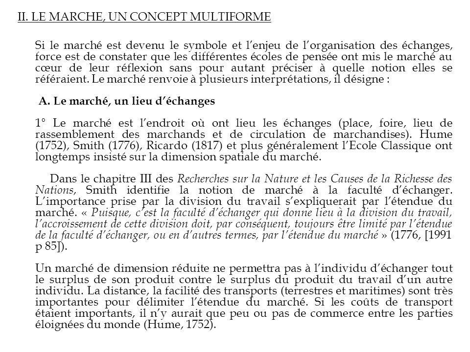 II. LE MARCHE, UN CONCEPT MULTIFORME