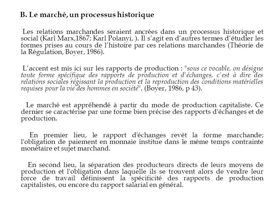 B. Le marché, un processus historique