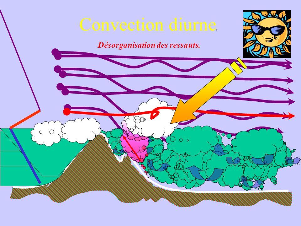 Convection diurne. Désorganisation des ressauts.