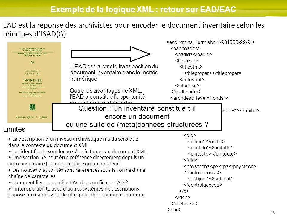 Exemple de la logique XML : retour sur EAD/EAC