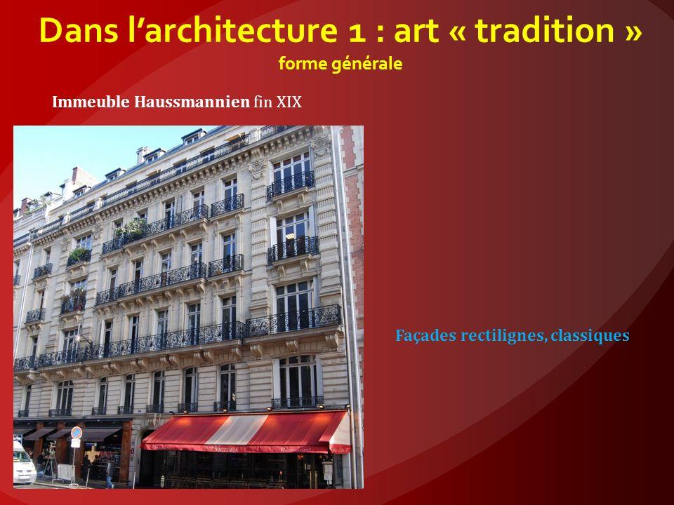 Dans l'architecture 1 : art « tradition » forme générale