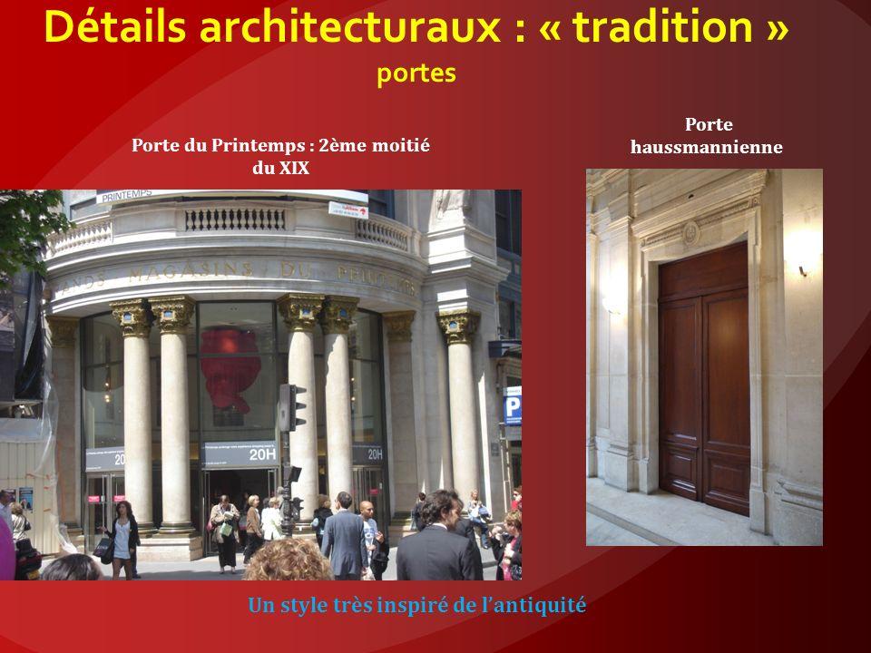 Détails architecturaux : « tradition » portes