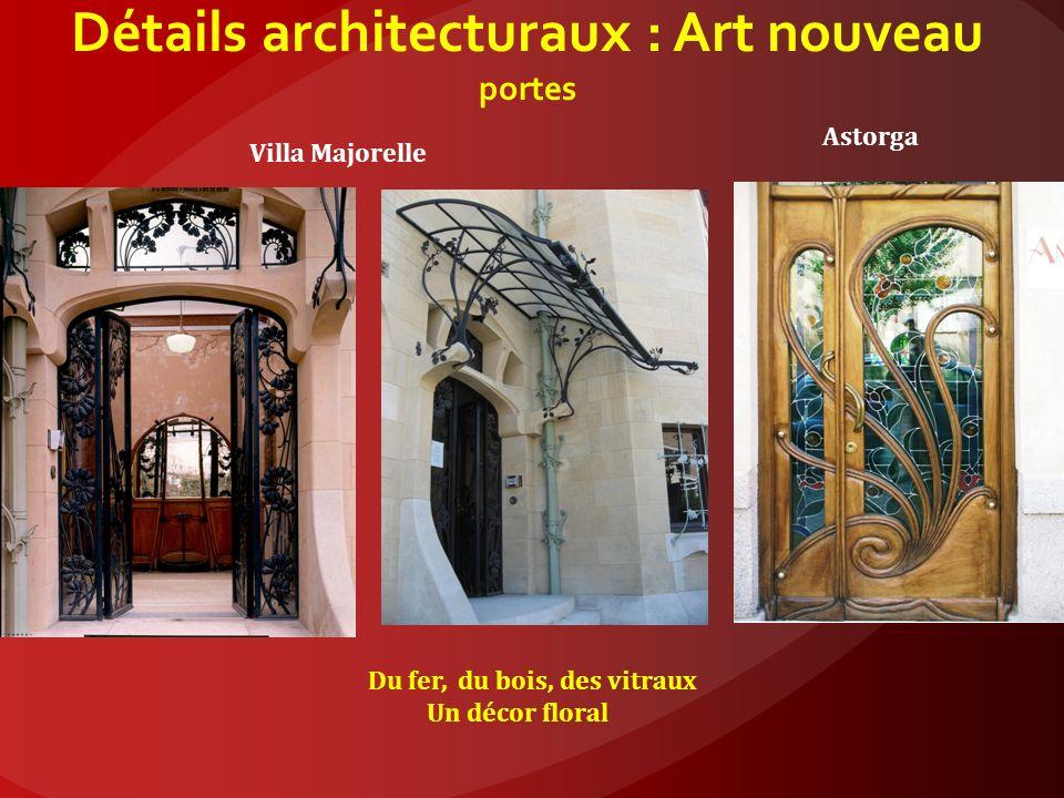 Détails architecturaux : Art nouveau portes