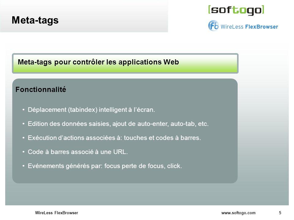 Meta-tags Meta-tags pour contrôler les applications Web Fonctionnalité