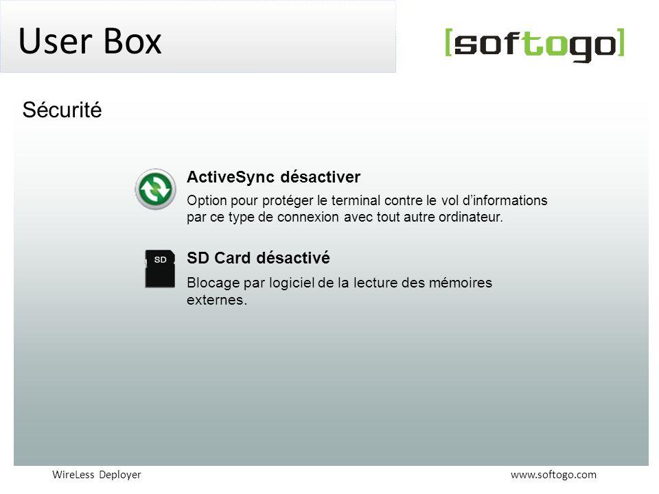 User Box Sécurité ActiveSync désactiver SD Card désactivé
