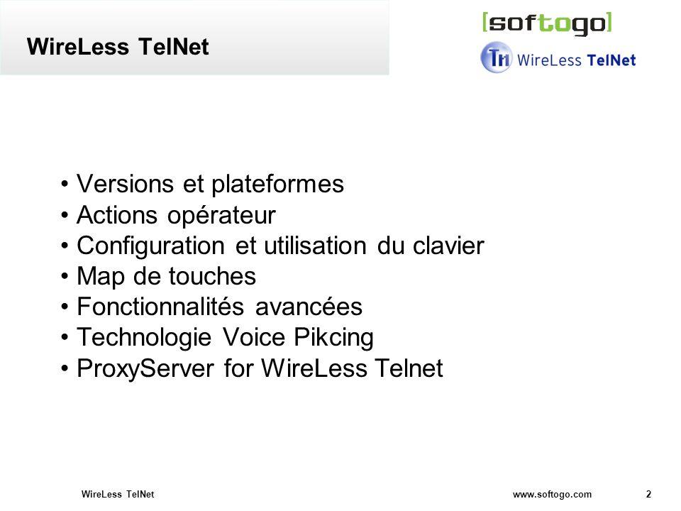 Versions et plateformes Actions opérateur