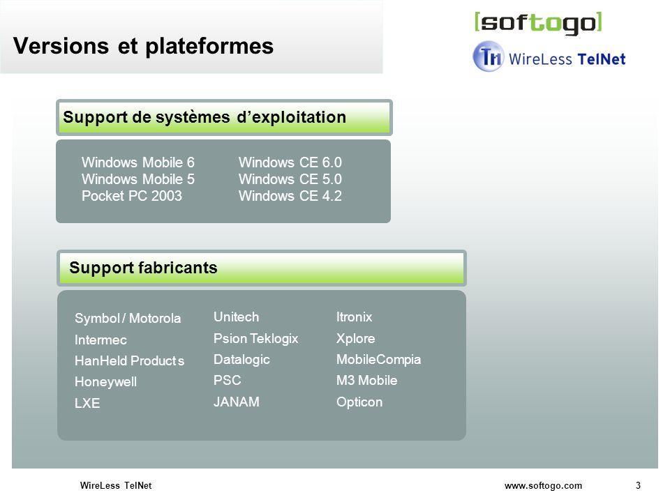 Versions et plateformes