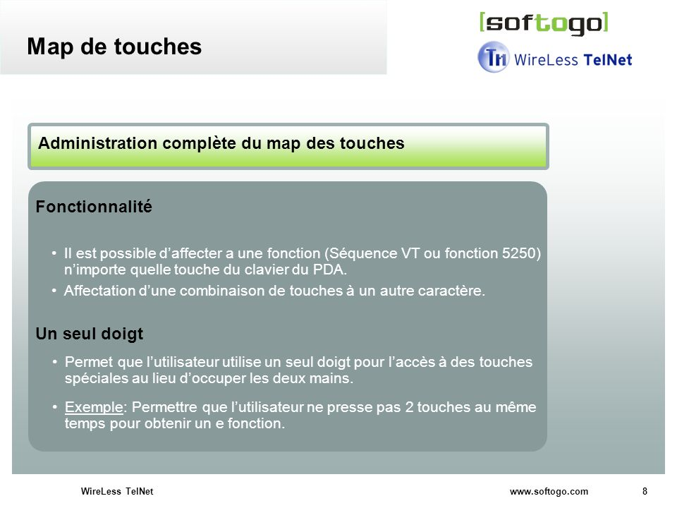 Map de touches Administration complète du map des touches