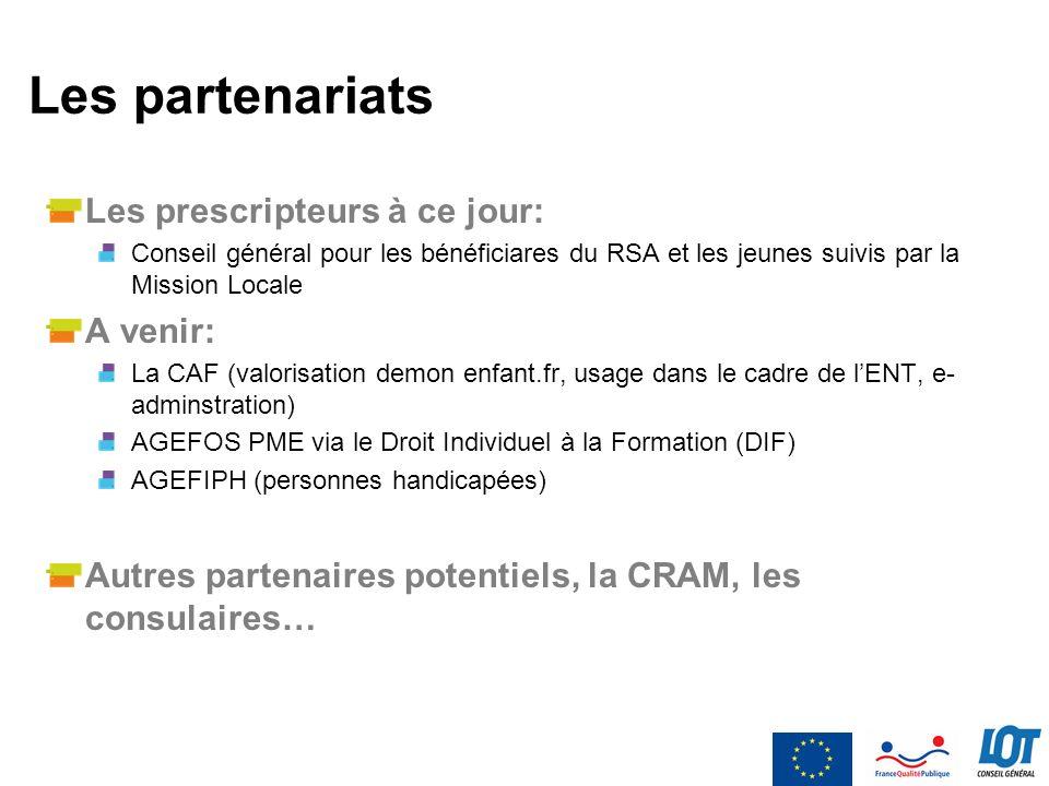 Les partenariats Les prescripteurs à ce jour: A venir: