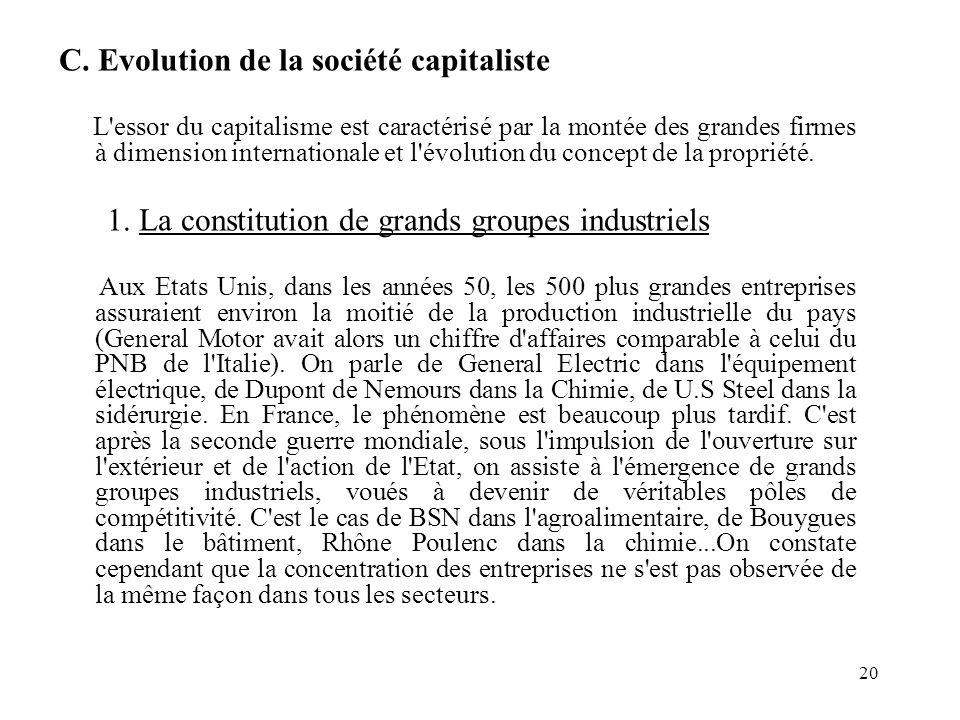 C. Evolution de la société capitaliste