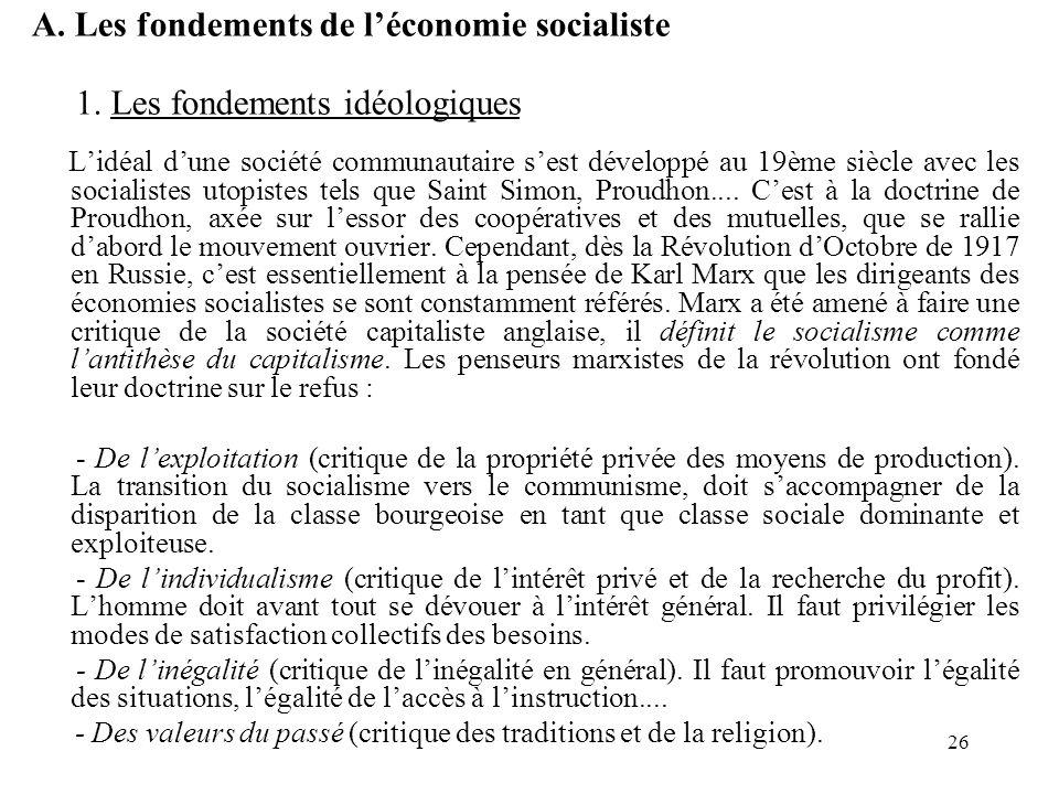 A. Les fondements de l'économie socialiste
