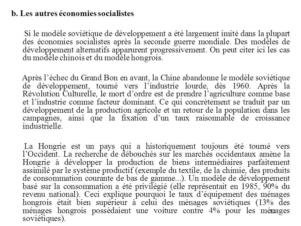 b. Les autres économies socialistes