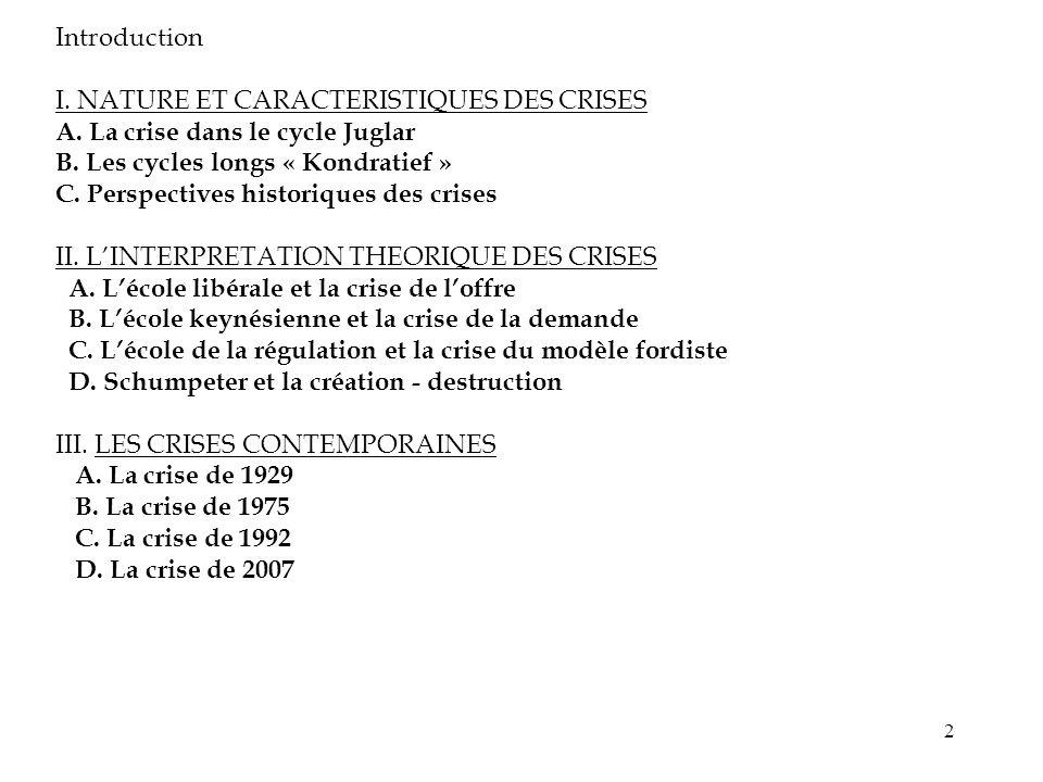 Introduction I. NATURE ET CARACTERISTIQUES DES CRISES. A. La crise dans le cycle Juglar. B. Les cycles longs « Kondratief »