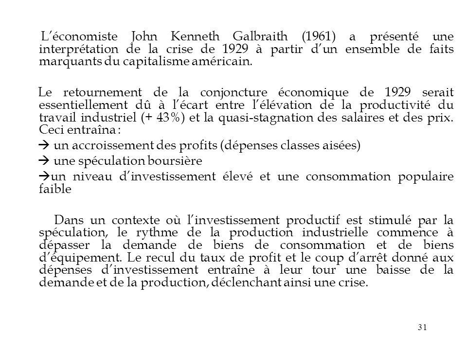 L'économiste John Kenneth Galbraith (1961) a présenté une interprétation de la crise de 1929 à partir d'un ensemble de faits marquants du capitalisme américain.