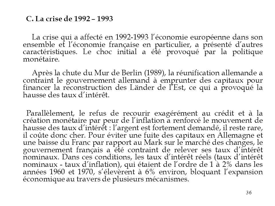 C. La crise de 1992 – 1993