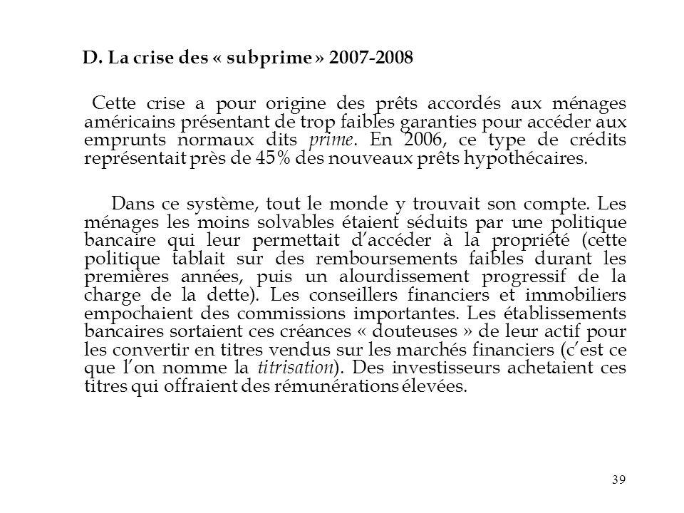 D. La crise des « subprime » 2007-2008
