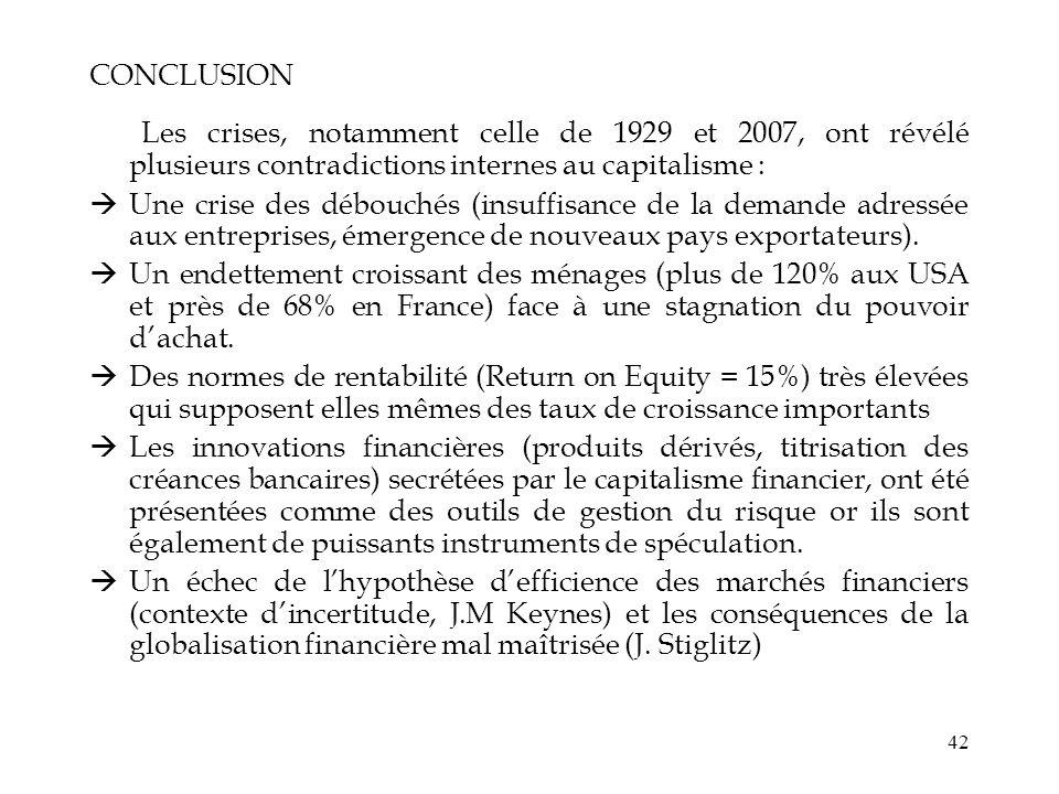 CONCLUSIONLes crises, notamment celle de 1929 et 2007, ont révélé plusieurs contradictions internes au capitalisme :