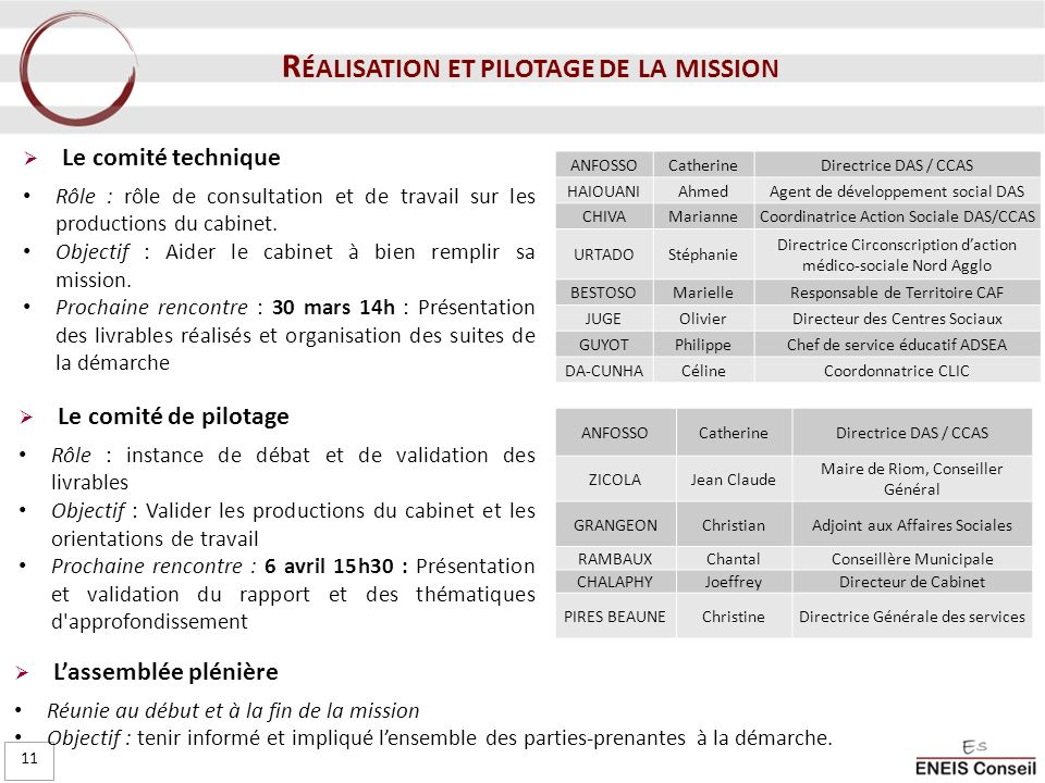 Réalisation et pilotage de la mission