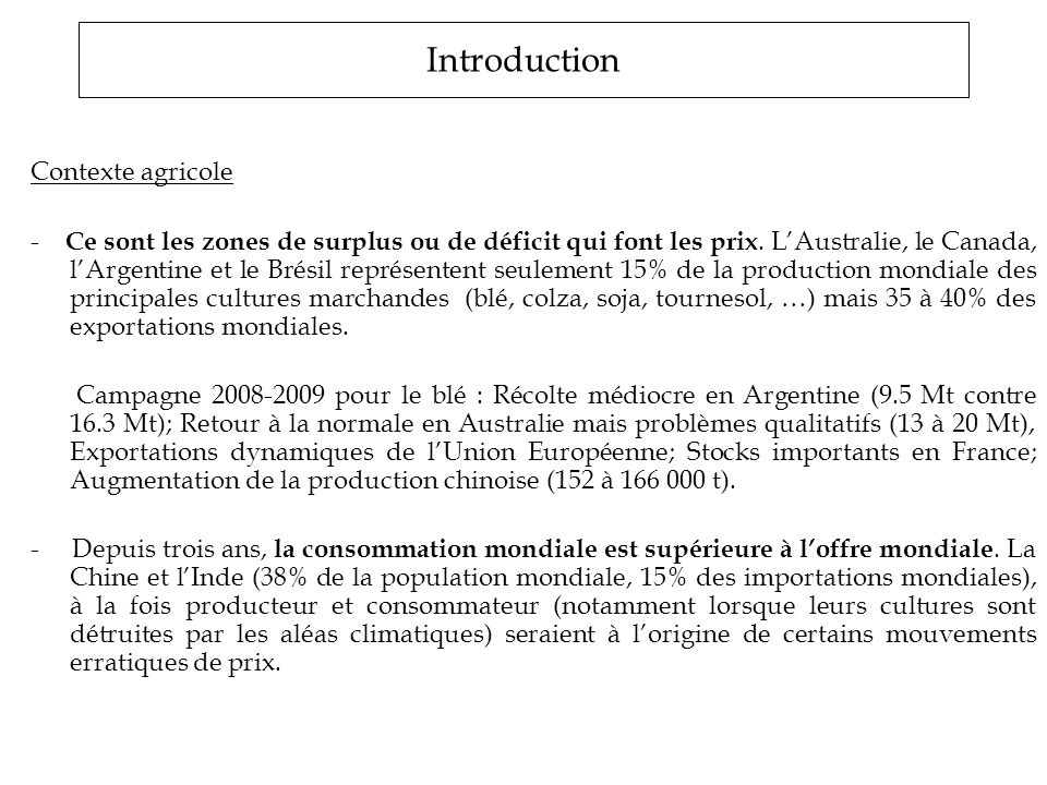 Introduction Contexte agricole