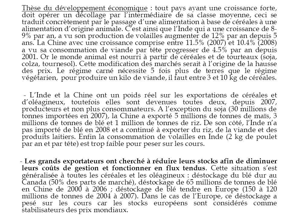 Thèse du développement économique : tout pays ayant une croissance forte, doit opérer un décollage par l'intermédiaire de sa classe moyenne, ceci se traduit concrètement par le passage d'une alimentation à base de céréales à une alimentation d'origine animale. C'est ainsi que l'Inde qui a une croissance de 8-9% par an, a vu son production de volailles augmenter de 12% par an depuis 5 ans. La Chine avec une croissance comprise entre 11.5% (2007) et 10.4% (2008) a vu sa consommation de viande par tête progresser de 4.5% par an depuis 2001. Or le monde animal est nourri à partir de céréales et de tourteaux (soja, colza, tournesol). Cette modification des marchés serait à l'origine de la hausse des prix. Le régime carné nécessite 5 fois plus de terres que le régime végétarien, pour produire un kilo de viande, il faut entre 3 et 10 kg de céréales.