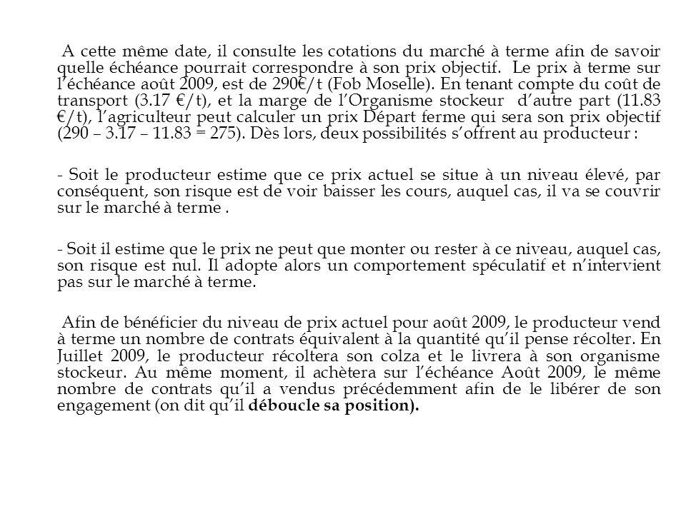 A cette même date, il consulte les cotations du marché à terme afin de savoir quelle échéance pourrait correspondre à son prix objectif. Le prix à terme sur l'échéance août 2009, est de 290€/t (Fob Moselle). En tenant compte du coût de transport (3.17 €/t), et la marge de l'Organisme stockeur d'autre part (11.83 €/t), l'agriculteur peut calculer un prix Départ ferme qui sera son prix objectif (290 – 3.17 – 11.83 = 275). Dès lors, deux possibilités s'offrent au producteur :
