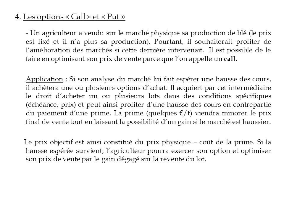 4. Les options « Call » et « Put »