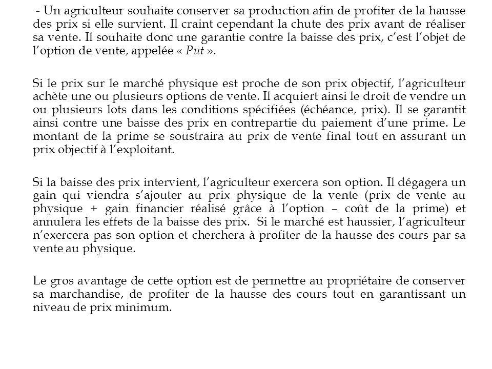 - Un agriculteur souhaite conserver sa production afin de profiter de la hausse des prix si elle survient. Il craint cependant la chute des prix avant de réaliser sa vente. Il souhaite donc une garantie contre la baisse des prix, c'est l'objet de l'option de vente, appelée « Put ».