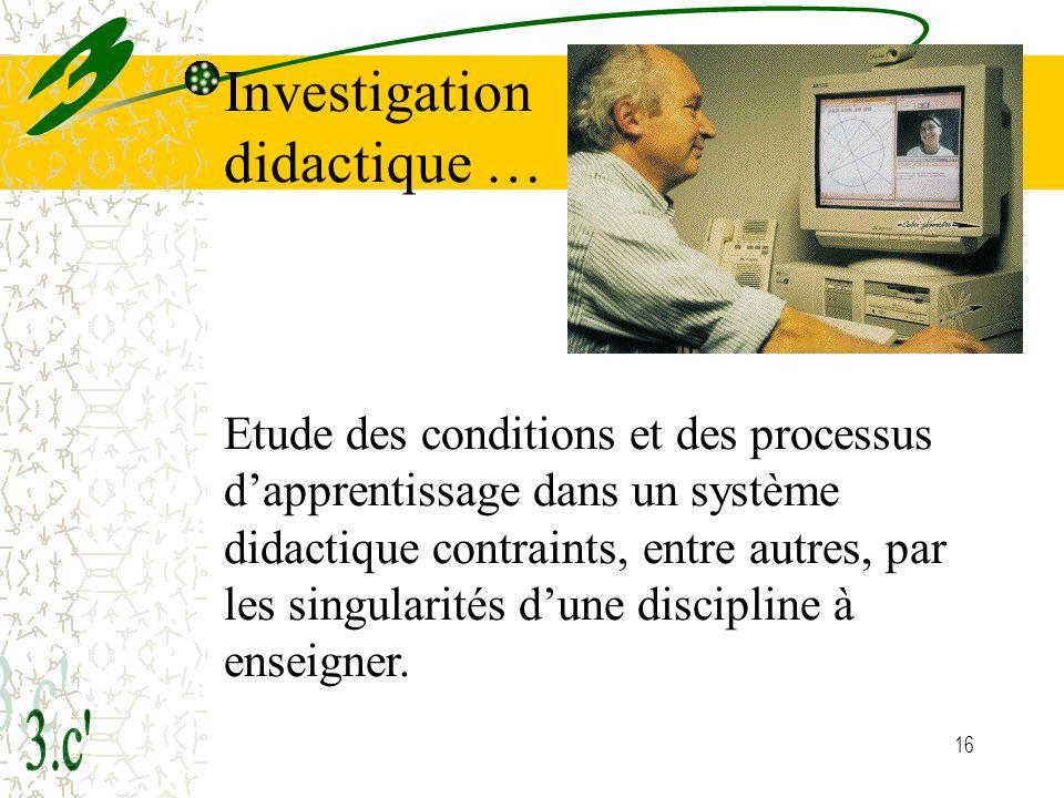 Investigation didactique …