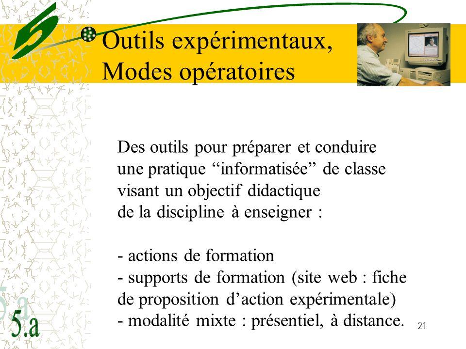 Outils expérimentaux, Modes opératoires 5 5.a