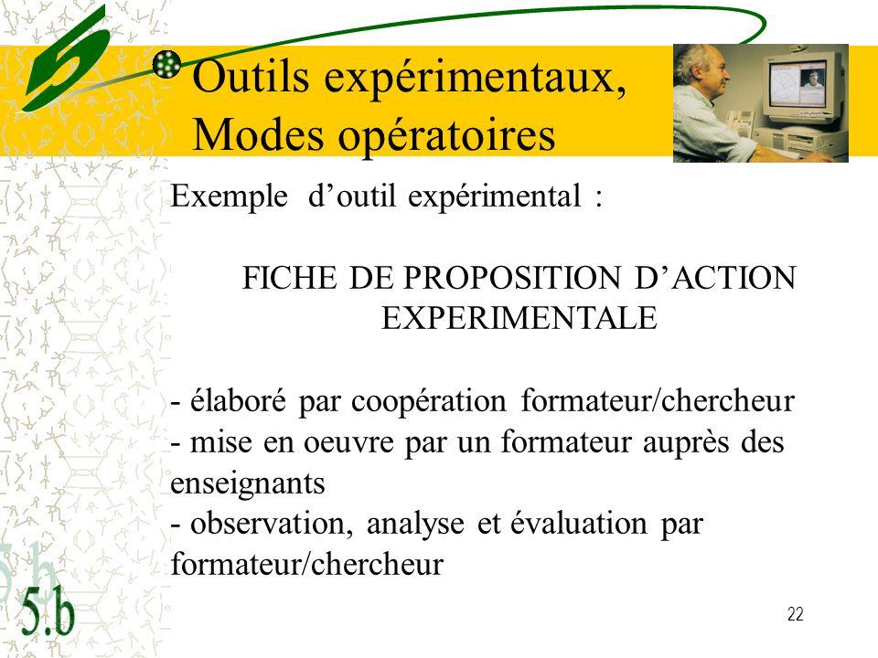 FICHE DE PROPOSITION D'ACTION EXPERIMENTALE