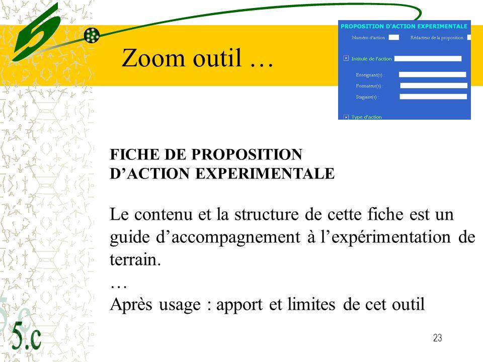 5 Zoom outil … FICHE DE PROPOSITION. D'ACTION EXPERIMENTALE.