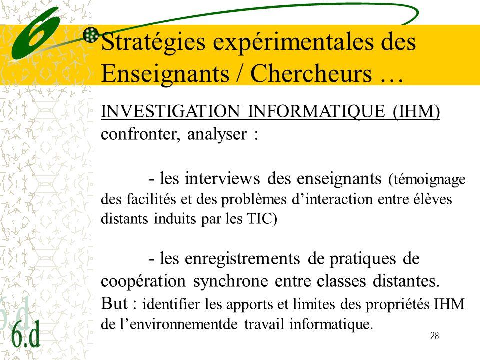 Stratégies expérimentales des Enseignants / Chercheurs …