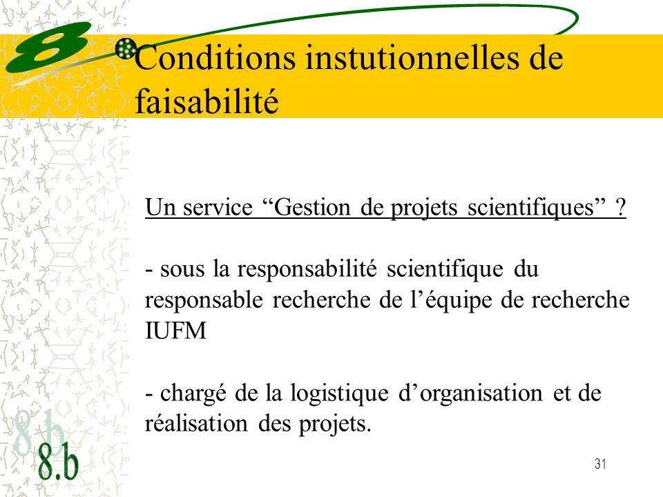 Conditions instutionnelles de faisabilité