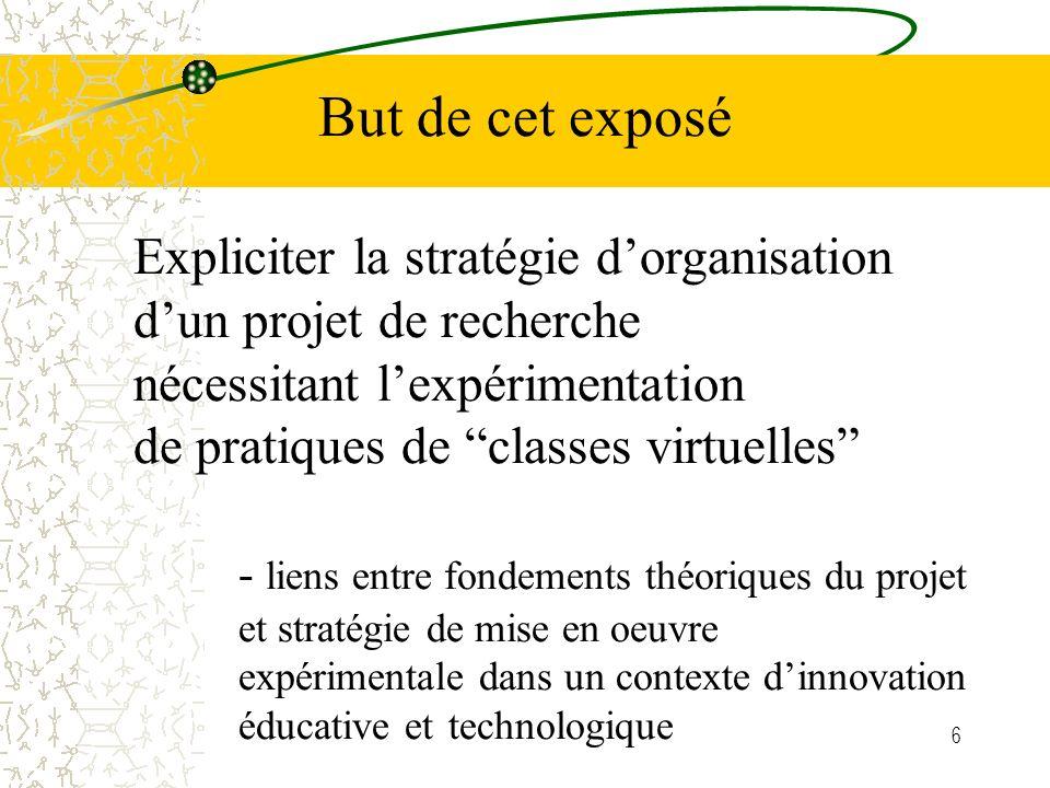 But de cet exposé Expliciter la stratégie d'organisation d'un projet de recherche. nécessitant l'expérimentation.