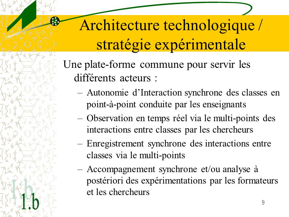 Architecture technologique / stratégie expérimentale