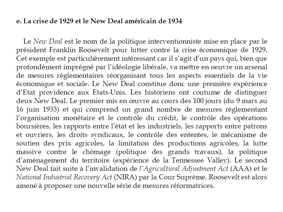 e. La crise de 1929 et le New Deal américain de 1934