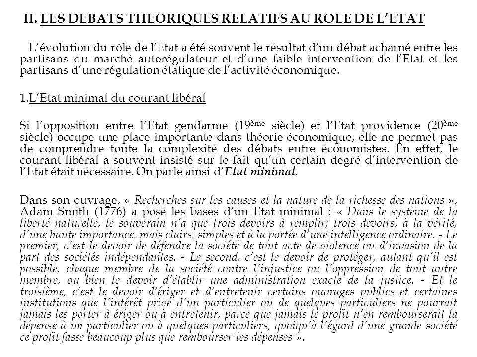 II. LES DEBATS THEORIQUES RELATIFS AU ROLE DE L'ETAT