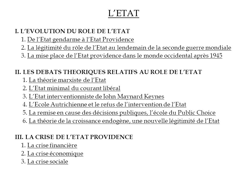 L'ETAT I. L'EVOLUTION DU ROLE DE L'ETAT